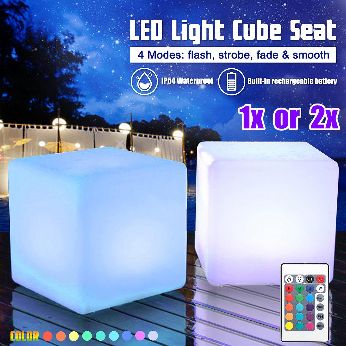 Newest 20cm RGB LED Light Cube Seat Chair Waterproof Rechargeable LED Lighting + Remote Control for Bar Home Decor High Quality