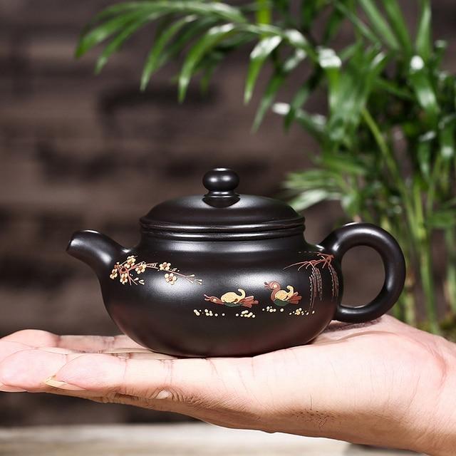 200ML Yixing Purple Clay Health Heizhu Mud Teapot Hand Painted Vintage Pattern Raw Ore Puer Pot Drinkware Zisha Black Tea Kettle