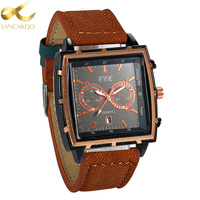 Lancardo Chronograph Casual Square Watch Men Luxury Brand Quartz Military Sport Calendar Watch Leather Men S
