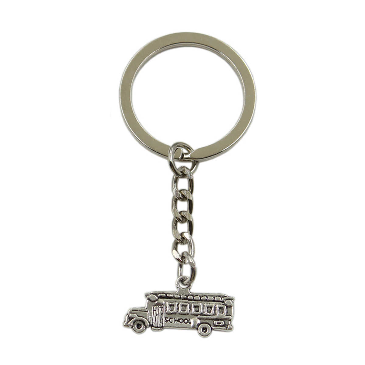 Factory Price school bus Pendant Key Ring Metal Chain Silver Men Car Gift Souvenirs Keychain Dropshipping