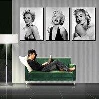 Marilyn Monroe Portre Poster 3 parça Tuval üzerine Modern Seksi Boyama duvar Sanat Oturma Odası Ev Dekorasyonu Benzersiz Hediye için Hiçbir Çerçeve