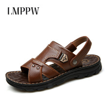 Men Leather Sandals 2019 Summer New Beach Shoes Men's Casual Slippers Fashion Outdoor Flat Men Sandals High Quality Non-slip 2A цена