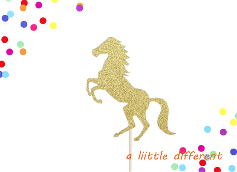 6inch 1pcs/set Gold Glitter Horse Cake Topper Cowgirl Cow Boy Horse Party Birthday Cake Topper