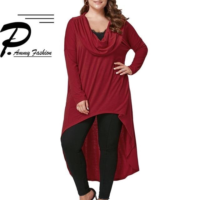Plus Size Irregular hem Long Sleeves Casual Cotton Dresses Ladies Womens Autumn Lagenlook Solid Color Tunic Dresses
