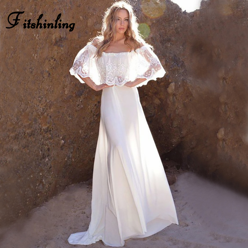 Fitshinling Off shoulder lace long floor-length dress bohemian summer beach white party dresses sexy hot party pareos sarafan outfits para playa mujer 2019