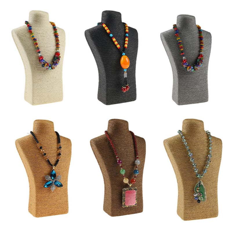 PVC Design Jewelry Pendants Woman Rope Mannequin Necklaces Bust Stand Bust Jewellery Display Stand Shelf Holder Packaging