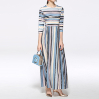 Europe Bohemian Fashion Women's Striped O Neck Slim Fit Tunic Printed Full Length Long Party Casual Formal Dress NEW