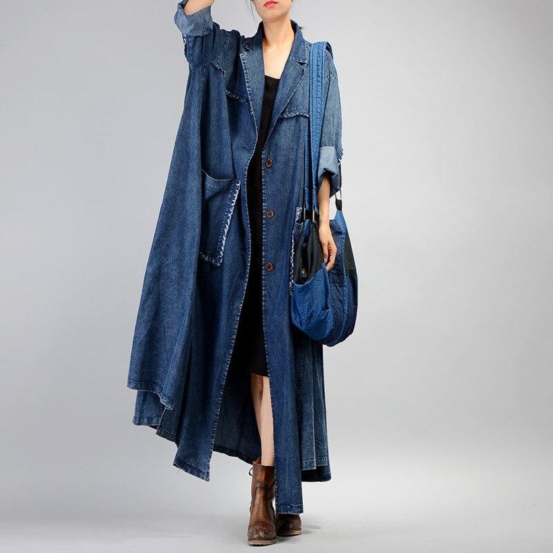 SHENGPALAE New Autumn 2019 Fashion Full Sleeve Single Breasted Denim Coat Loose Plus Size High Quality