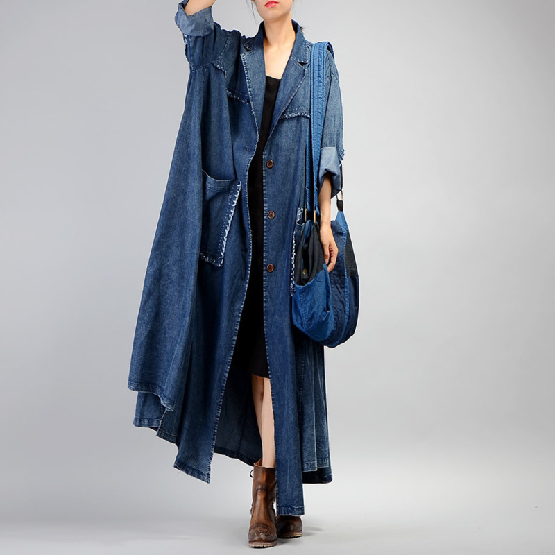 SHENGPALAE New Autumn 2019 Fashion Full Sleeve Single Breasted Denim Coat Loose Plus Size High Quality Windbreaker Women QE203-in Trench from Women's Clothing    1