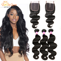 "Brazilian Virgin Hair With Closure 4""x4 "" Lace Closure With Bundles 3 Bundles Brazilian Body Wave With Closure Human Hair Weave"
