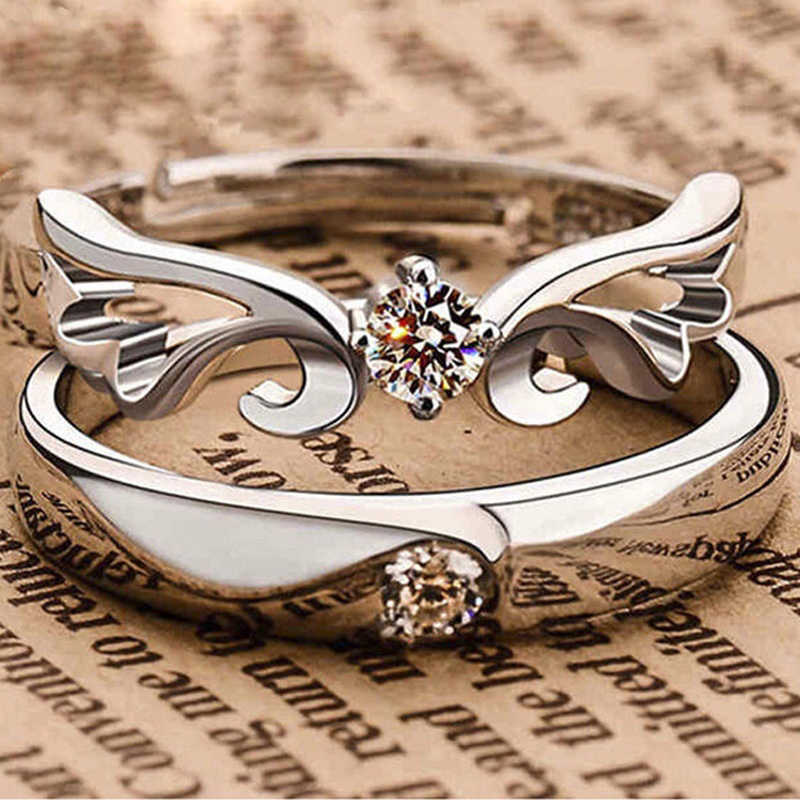 d9e81c9848 2 pcs SILVER Wing Lovers Crystal Couple Ring Her and His Promise Ring Set  Band Adjustable