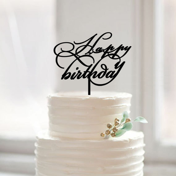 modern wedding cake topper ideas happy birthday cake topper custom script cake toppers 17491