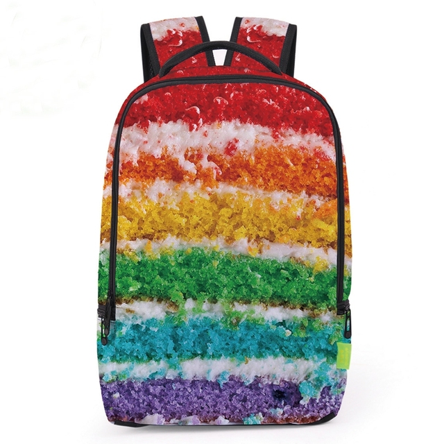 2018 New Polyester Student Book Bags Colorful Cake Print School ...