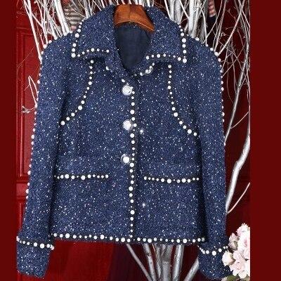 Nail Frangée Poches Color Manches Longue Qualité Version Évasée Mode Perles Nouvelle Veste Avant Tweed Picture Luxe 2019 Manteau De Piste Haute gCwpB4qC