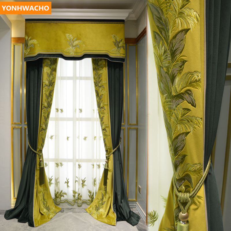 Custom Curtains American Luxury High-end Living Room Green Embroidered Velvet Cloth Blackout Curtain Tulle Valance Drape B409