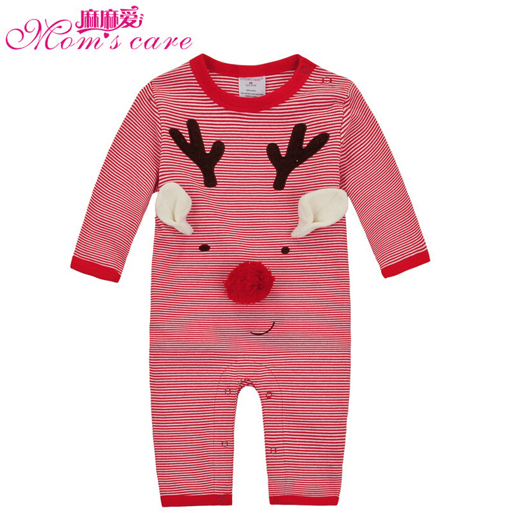Mom's care Christmas Deer Baby Rompers 100% Cotton Infant Overalls Newborn Toddler Girls Boys Jumpsuits Pajamas Sleepwear Autumn cotton baby rompers set newborn clothes baby clothing boys girls cartoon jumpsuits long sleeve overalls coveralls autumn winter