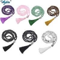 Ayliss 2018 New Buddhist Prayer 108 Mala Beads Multilayer Buddha Head Natural Gem Stones Wrap Bracelets