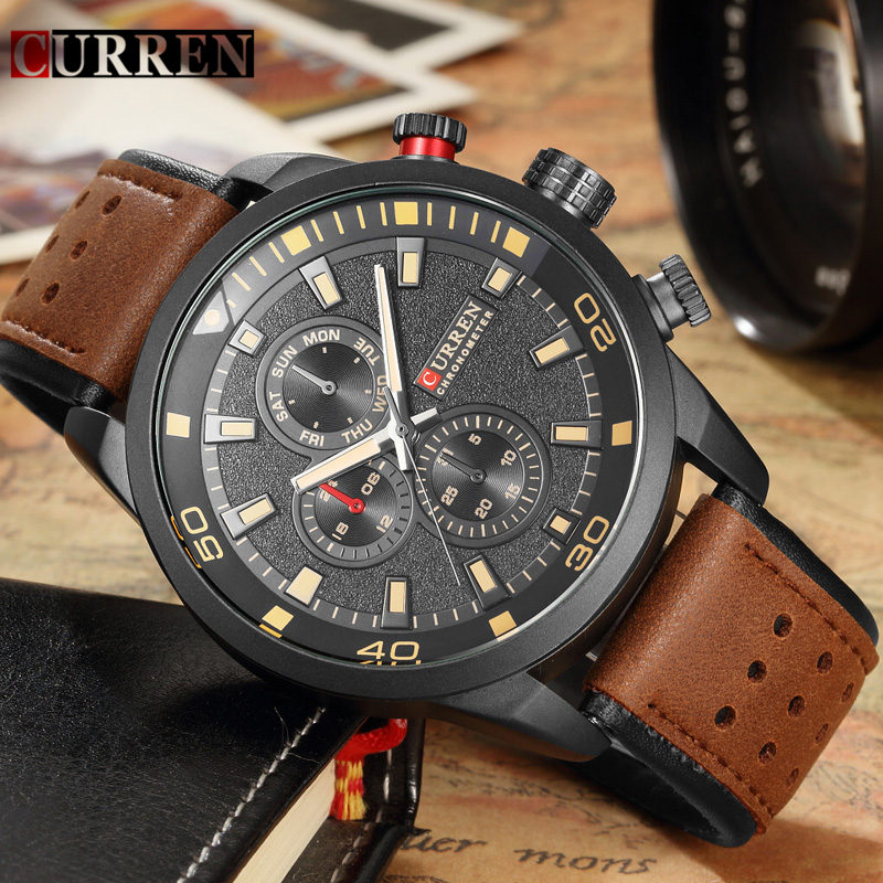 Curren 8250 Men Quartz Watches Brand Luxury Military Sport Mens Wristwatch Waterproof Leather Strap Male Clock Relogio Masculino vinoce top luxury brand men military sport watches men s quartz clock male leather waterproof casual business wristwatch relogio