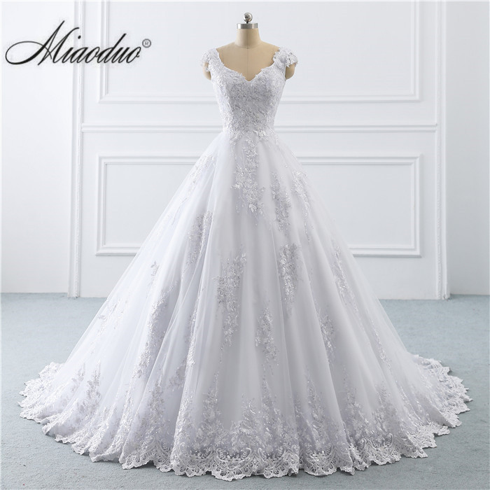 2019 Wedding Dress Arabic Lace Cap Sleeve Ball Gown Bridal Dresses Princess Wedding Gown Real Photo