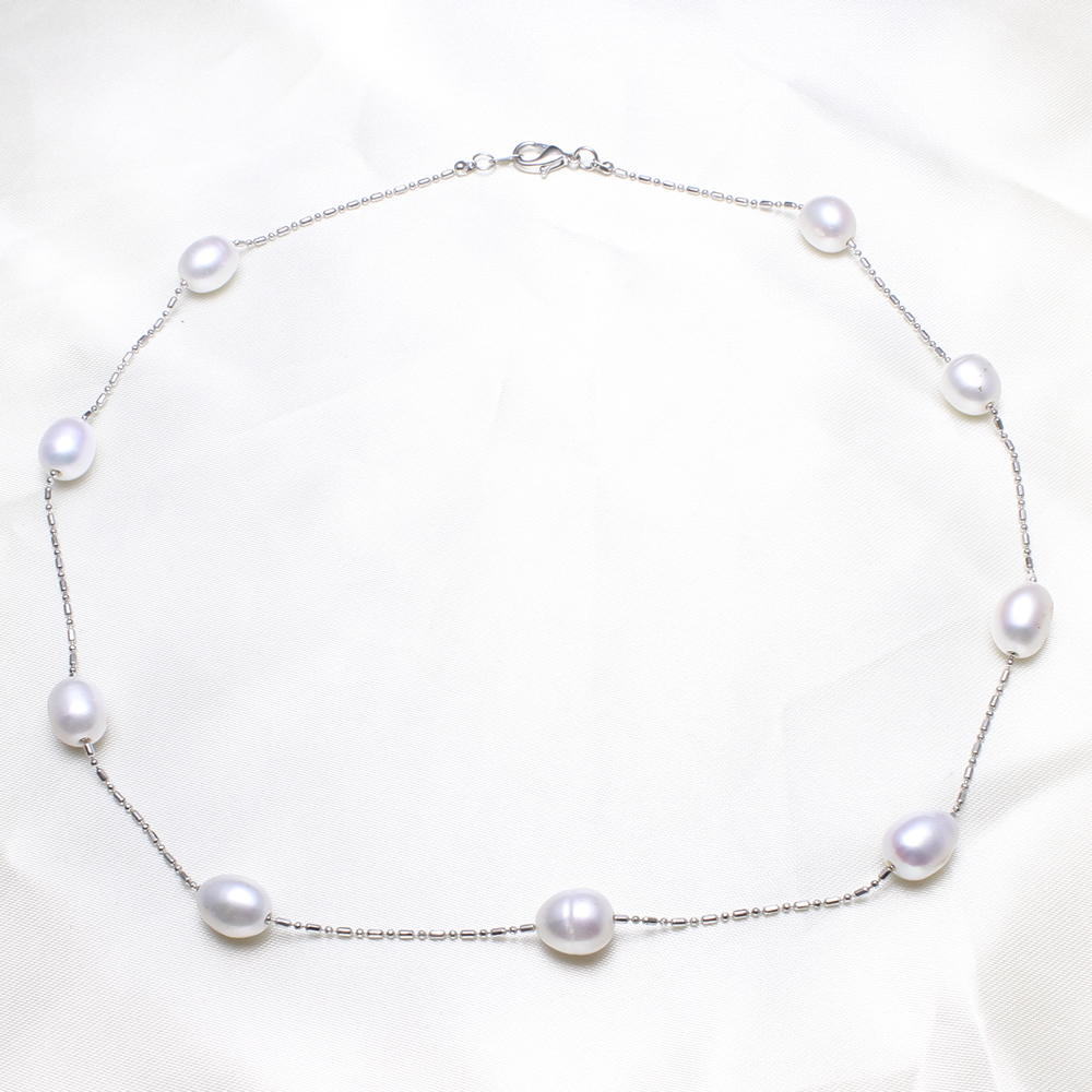 Silvercolor Chain Necklace Natural White Freshwater Pearl Beads 18 Inch  Single Ball Chain Necklace