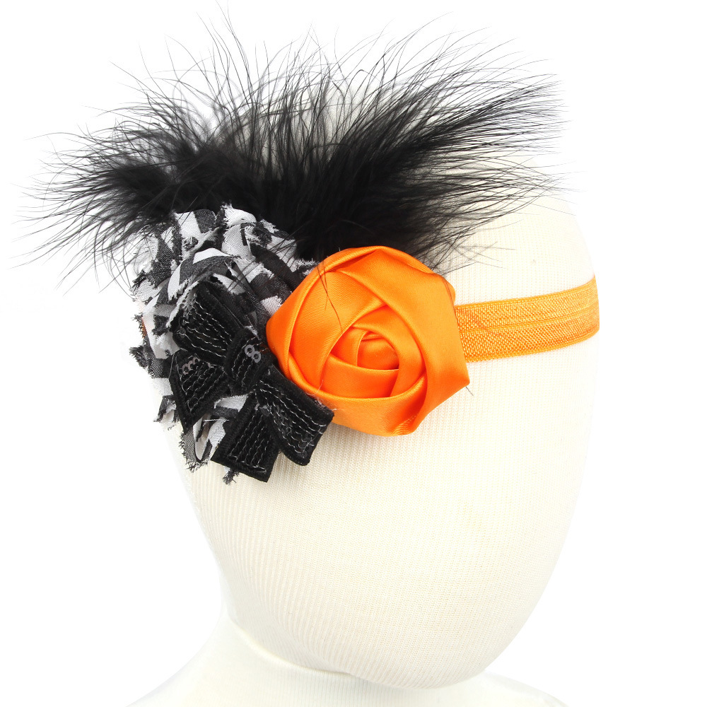 20pcs/lot chiffon flowers halloween hair headbands for hair feather