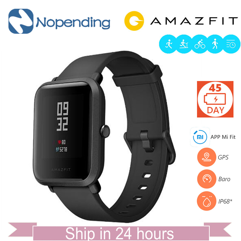 Inglês Original NOVO Huami Amazfit Bip POUCO Lite Smartwatch Relógio Inteligente Mi Smart-Relógio Fit Reflexão IP68 À Prova D' Água para Xiaomi