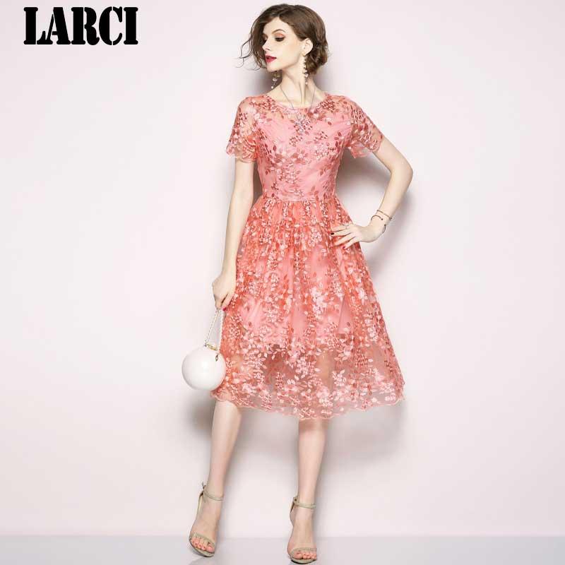 c6bcd916f7 LARCI Retro Mesh Pink Floral Embroidered Dress Woman Dress 2018 Slim  Vintage Dress Sukienki Damskie Zomer Jurk N6187