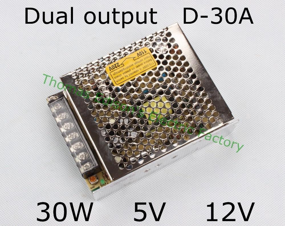 dual output power supply 30w 5v 12v power suply D-30A  ac dc converter good quality