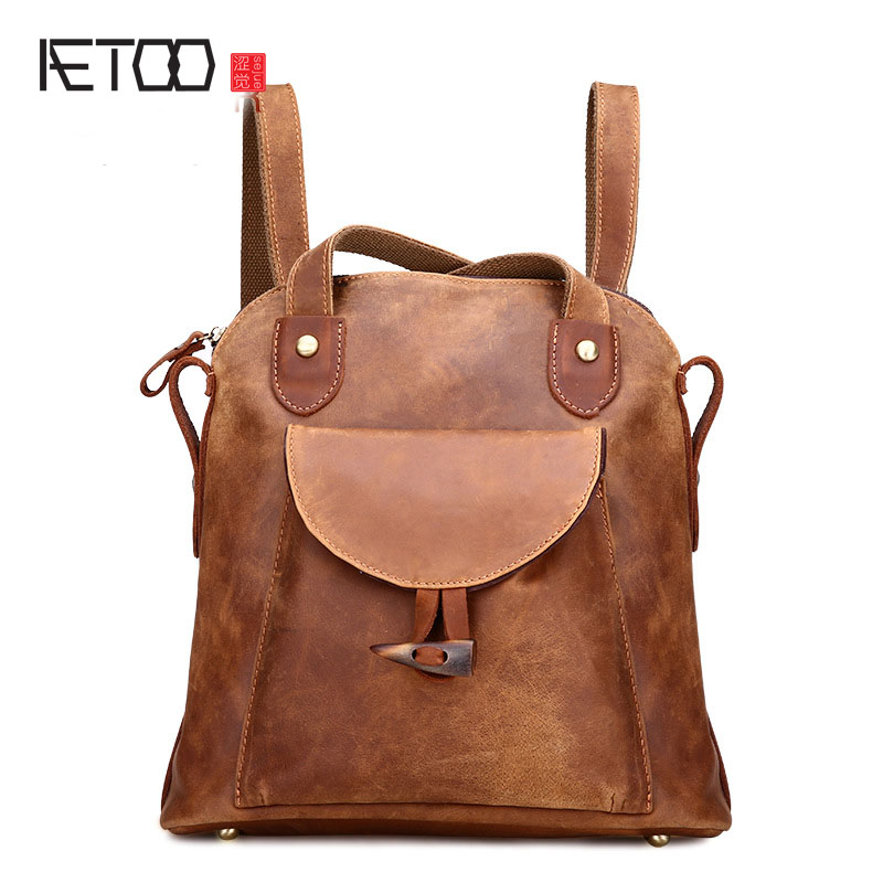 AETOO The new retro mad horse skin backpack fashion shoulder shoulder leather package tide package luminox a 8841 km set xl 8841 km set the land series of quartz