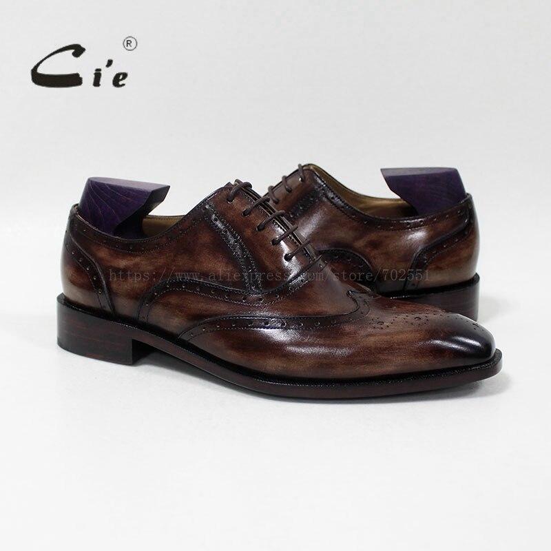 cd552296e CIE квадратный носок Кружево на шнуровке ручной работы Для мужчин S кожаная  обувь заказ телячьей кожи дышащие Для мужчин Оксфорд патина темно.