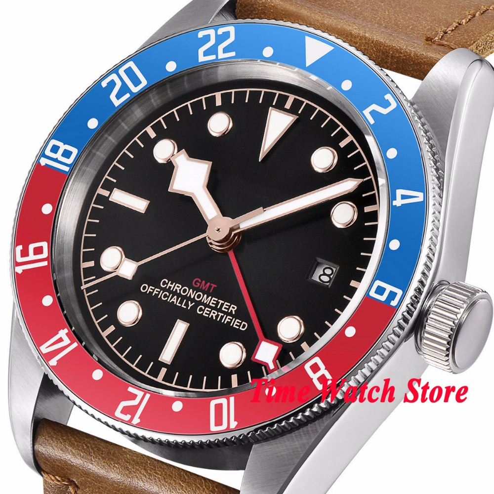 41mm Corgeut GMT automatic wrist watch men sapphire glass waterproof black strile dial luminous blue red Bezel leather strap - 2