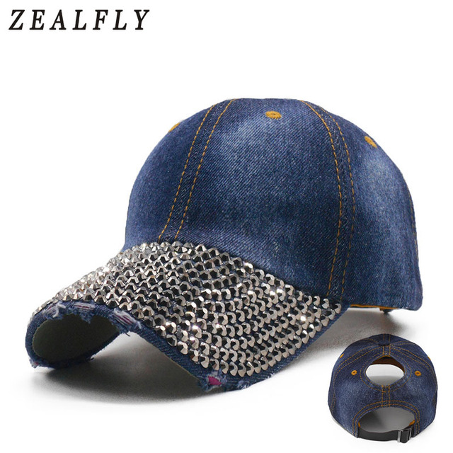 Ponytail Women S Baseball Cap Sparkling Rhinestones Snapback Hats Summer  Messy Bun Denim Hats Casual Caps Drop Shipping 67b98bbaea7d