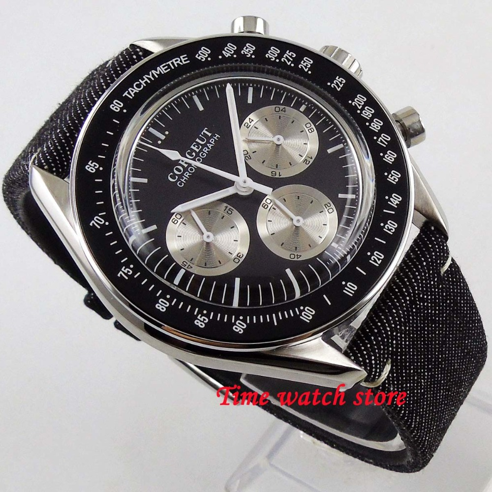 Luxury 40mm Corgeut Quartz men s watch Arched glass Full Chronograph Black dial black bezel stop