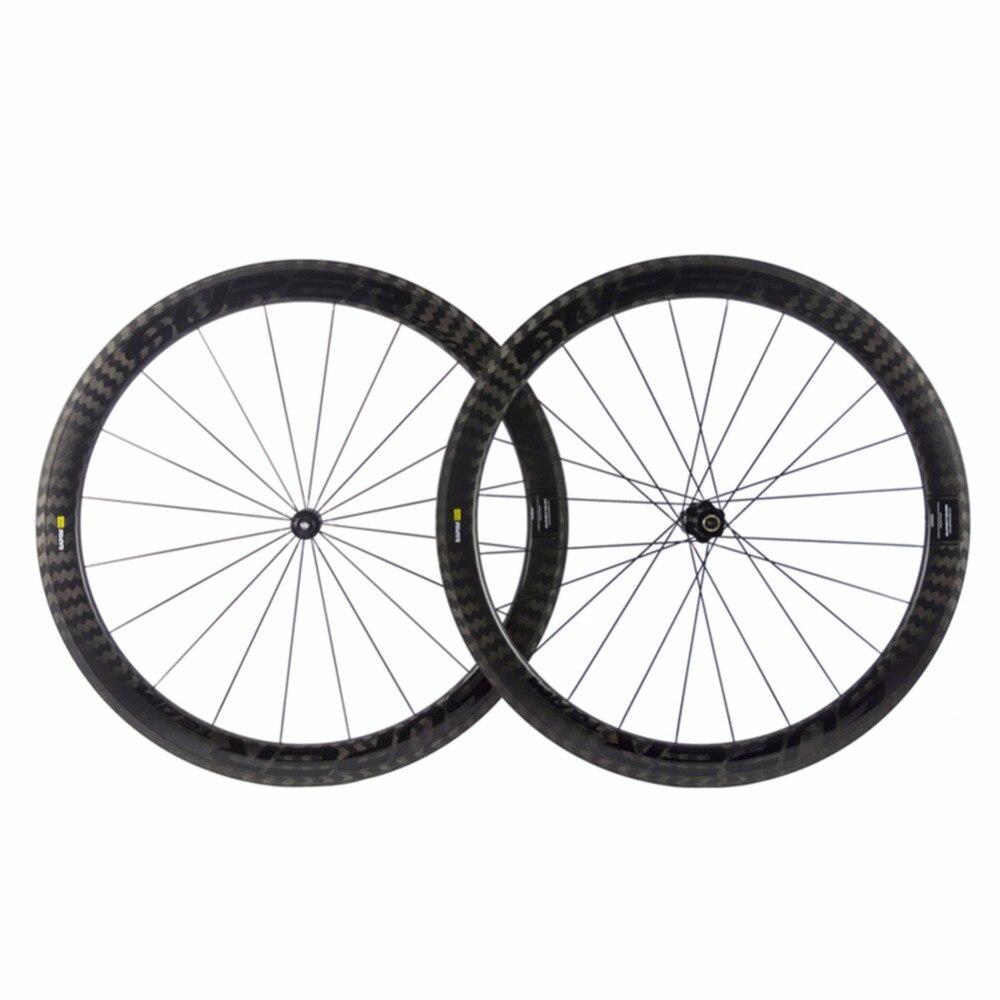 Roues de vélo de route en carbone 12 K roues de vélo de route en carbone 700c, roues de vélo en forme de U roues de vélo en carbone de largeur 25mm