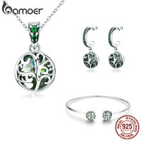 BAMOER Authentic 925 Sterling Silver Sets Tree Of Life Green Crystal AAA CZ Jewelry Set Sterling