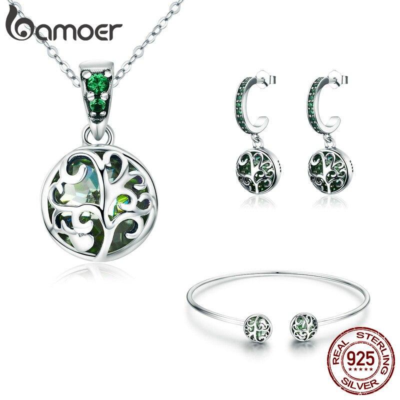 BAMOER auténtico 925 Sterling conjuntos de plata Árbol de la vida verde cristal AAA CZ conjunto de joyas de plata esterlina, regalo de la joyería de ZHS053