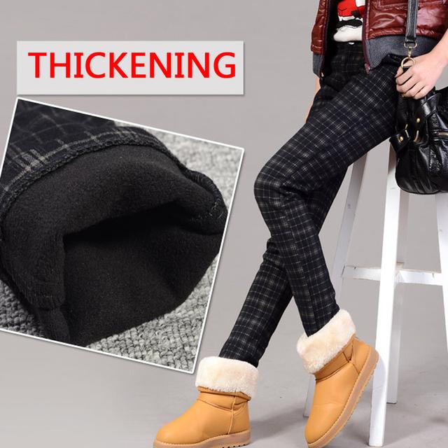 2016 pantalones de invierno Más Mujeres del tamaño 4XL 3XL Moda gruesa cálido Casual Lápiz Grande de Gran tamaño de cachemira pantalones de tela escocesa ocasional mujeres
