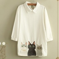 Peter Pan Collar Three Quarter Shirt Sweet Kitten Embroidery Blouse Mori Girl