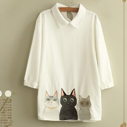 Peter pan collar three quarter shirt sweet kitten