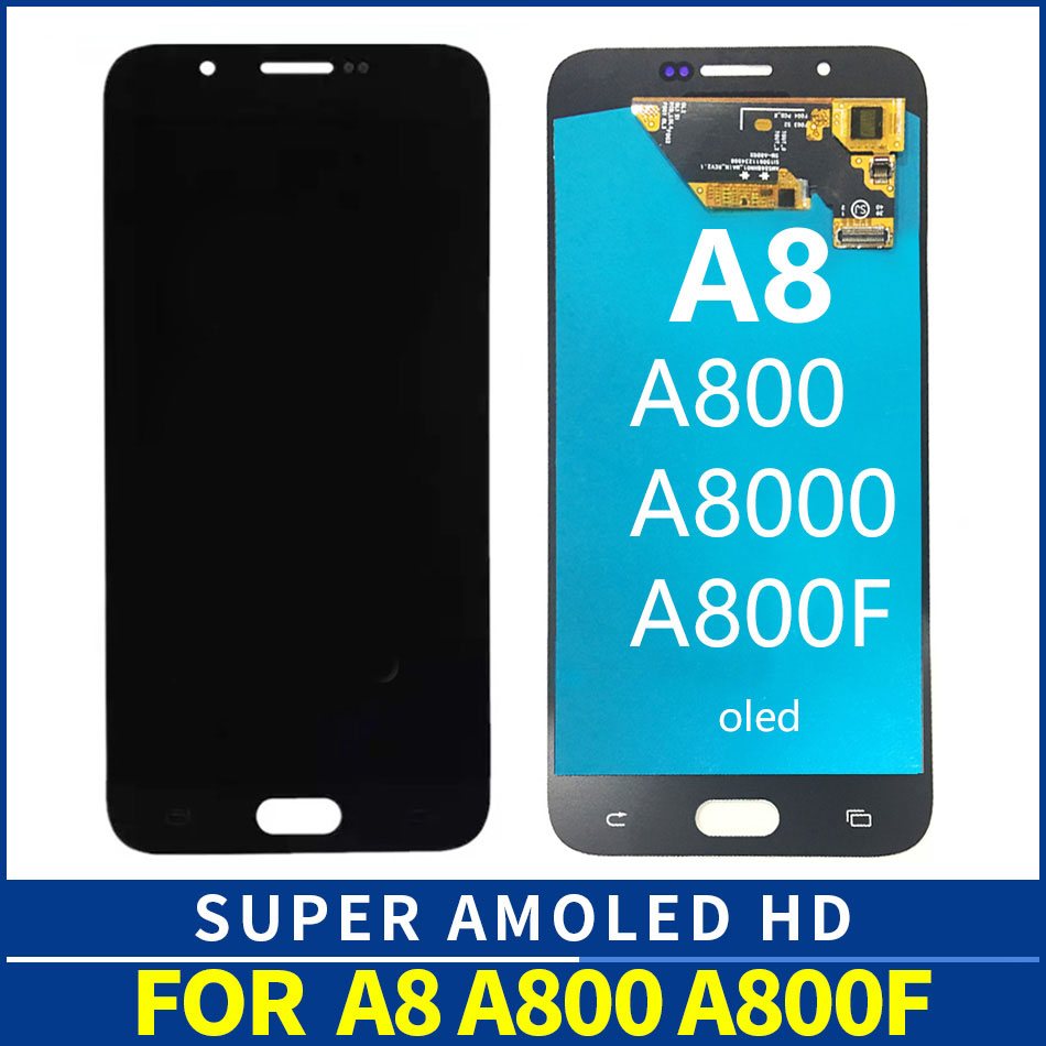 OLED LCD Screen For Samsung A8 2015 A8000 A800 A800F LCD Display Touch Screen Digitizer Assembly Black White Gold SM A800F