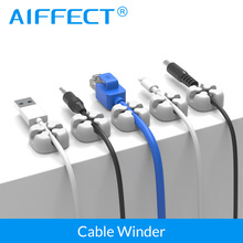 AIFFECT 6Pcs Silicone Cable Winder Magnetic Clip USB Organizer Clamp Desktop Workstation Wire Cord Management