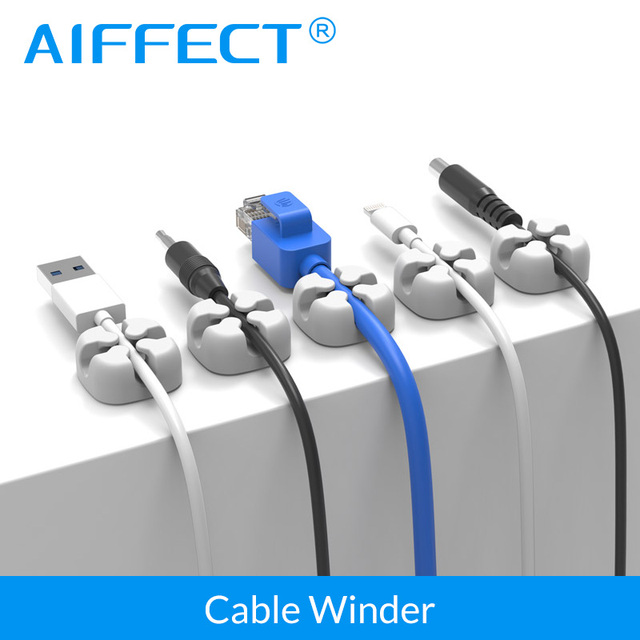 AIFFECT 6Pcs Silicone Cable Winder Magnetic Cable Clip USB Cable Organizer Clamp Desktop Workstation Wire Cord Management