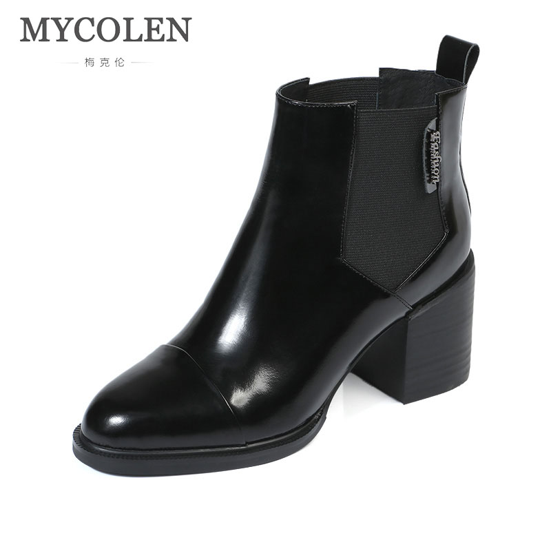 MYCOLEN New Fashion Ankle Boots Fashion Brand Chunky High Heels Women Autumn Comfort Chelsea Boots Square Toe Women Pumps new 2017 winter cotton coat women slim outwear medium long padded jacket thick fur hooded wadded warm parkas winterjas cm1634