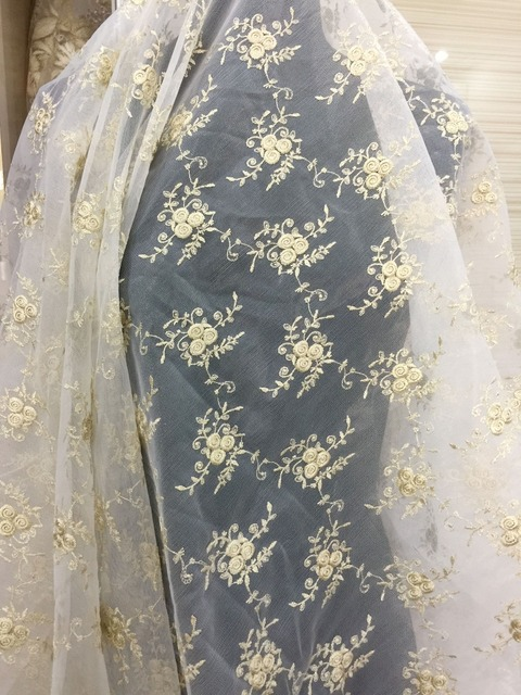 5 yards Gold Daisy Floral Embroidery Lace Fabric for Historical ...