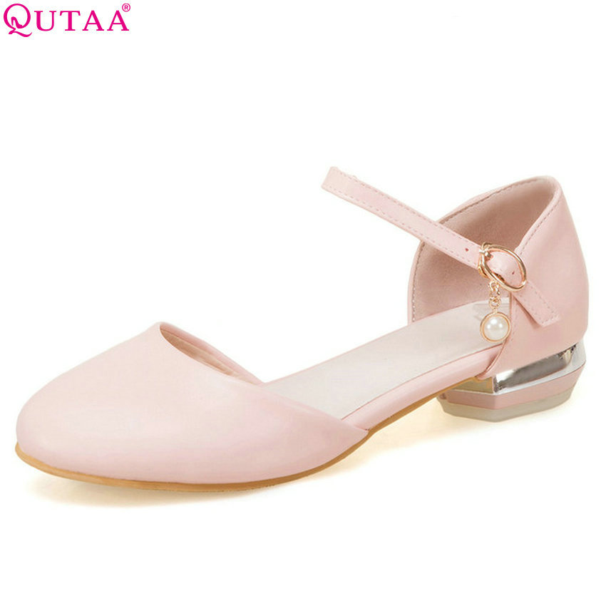 QUTAA 2018 Women Pumps Casual Elegant Women Shoes Platform Square Heel Round Toe Buckle Westrn Style Women Pumps Size 34-43 цена 2017