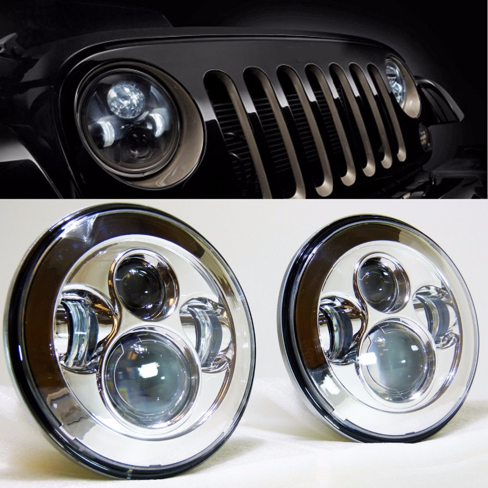 Jeep Jk Headlights >> Pair of Chrome / Black 7 inch LED Headlights Replacement ...