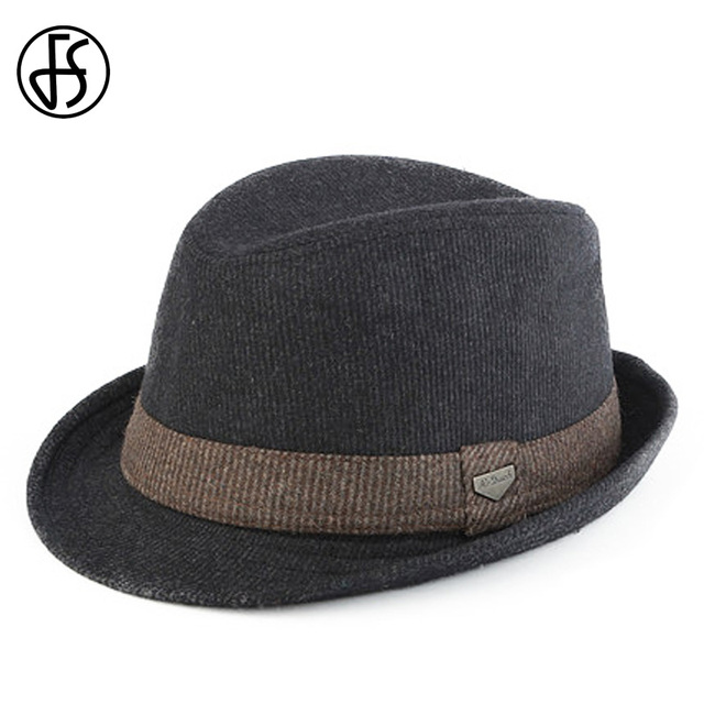 FS Black Gray Striped Trilby Hat For Men Vintage Wool Felt Fedora Hats  Autumn Winter Wide Brim Gentleman Jazz Caps Chapeau Homme 96565a2b0dd