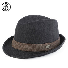 a97ffb93cc9 FS Black Gray Striped Trilby Hat For Men Vintage Wool Felt Fedora Hats  Autumn Winter Wide Brim Gentleman Jazz Caps Chapeau Homme