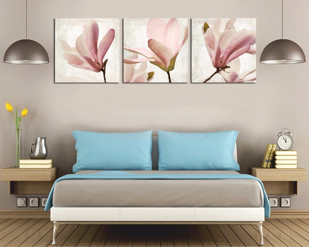 3Pcs Magnolia Flower High Resolution Canvas Art Giclee Prients Wall Pictures For Living Room Unfamed In Painting Calligraphy From Home Garden On