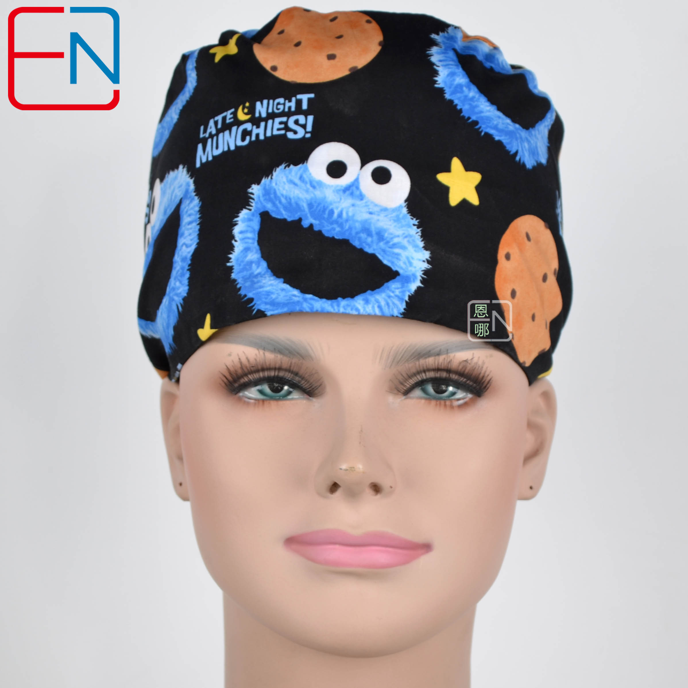Hennar Women Print Surgical Caps Mask 100% Cotton Medical Caps Adjustable Dentists Surgical Hats Masks